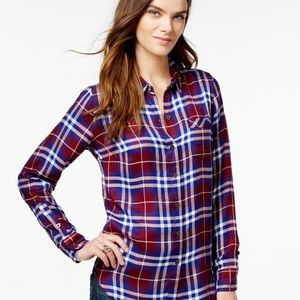 Lucky Brand Plaid Button Down Flannel style top